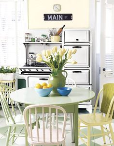 Inspiring Summer Interiors: 50 Green and Yellow Kitchen Designs : 50 Green And Yellow Kitchen Designs With White Kitchen Wall Sink Oven Stove Wash Basin Storage Window Curtain And Green Dining Table Bar Stool Flower Decor Green Kitchen Paint, Painted Kitchen Floors, Yellow Kitchen Designs, Kitchen Flooring, Painted Floors, Painted Chairs, Design Kitchen, Painted Furniture, Vintage Stoves