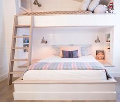 A Bright and Cheery Mobile Home, Purchased From a Baywatch Babe — House Call (Apartment Therapy Main) Bunk Beds For Girls Room, Bunk Bed Rooms, Cute Beds For Girls, Loft Bunk Beds, Queen Bunk Beds, Bunk Beds Built In, Bunk Bed Designs, Girl Bedroom Designs, Cute Bedroom Ideas