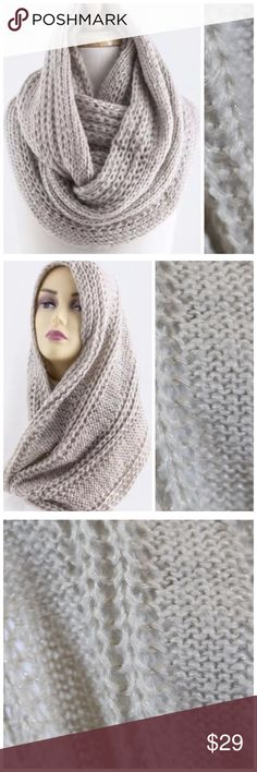 """B83 Shimmery Metallic Beige Chunky Infinity Scarf ‼️ PRICE FIRM UNLESS BUNDLED WITH OTHER ITEMS FROM MY CLOSET ‼️   Cable Knit Shimmery Scarf  Retail $59  Super fun!  Soft & warm.  100% acrylic. Chunky cable knit with metallic threading. 14"""" wide, 31"""" long.  Please check my closet for many more items including jewelry, shoes, handbags designer clothing & more! Accessories Scarves & Wraps"""