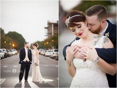 Bride and groom portraits  |  Just married  |  Modern weddings  |  Black suit and beaded wedding gown  |  Aislinn Kate Photography