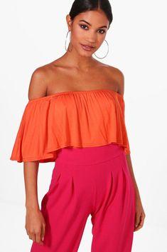 dc7823f5ea3f2 Boohoo Libby Off The Shoulder Frill Crop Top Orange Size UK 14 LF085 DD 18