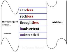 careless, reckless, thoughtless, inadvertent, unintended mistakes
