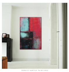 Canvas Wall Art - Red Black Corner / On canvas / Original Hand Made / Acrylic Painting by Ronald Hunter / WorldWide Free Shipping door RonaldHunter op Etsy https://www.etsy.com/nl/listing/212782409/canvas-wall-art-red-black-corner-on