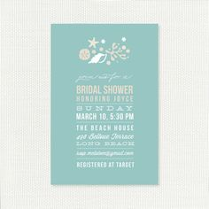 Bridal Shower Invitation Starfish Beach Printable, Digital File ...