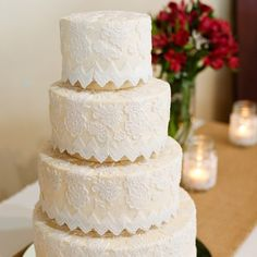 Lace detailed wedding cake // photo by: Kristi Wright Photography