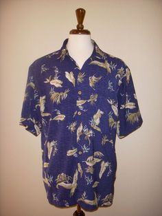PREMIER INTERNATIONAL Hawaiian SHIRT L Blue Floral  #PremierInternational #Hawaiian