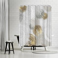 East Urban Home PI Creative Art Spinning I Single Shower Curtain Gold Shower Curtain, Shower Curtains, Shower Sizes, Modern Rustic Interiors, Creative Art, Brown And Grey, Spinning, Guest Bath, Furniture
