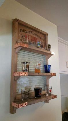 Antique washboard shelf for shot glasses! Country Decor, Rustic Decor, Farmhouse Decor, Repurposed Items, Repurposed Furniture, Furniture Makeover, Diy Furniture, Washboard Decor, Old Washboards