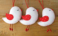 Felt Bird Ornaments, Set of 3 pieces, Home Decor, Christmas tree Ornaments