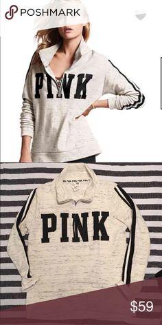VS PINK HALF ZIP HOODIE Victoria secret pink half zip hoodie, medium, brand new with tag , newest release * PINK Victoria's Secret Sweaters Crew & Scoop Necks