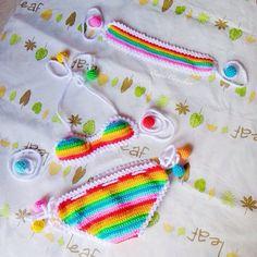 Rainbow beach setCrochet baby bikini and por EarnCrochet en Etsy