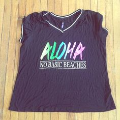 """Fun """"basic tee"""" . Black tee with graphics Electric Pink  Tops"""