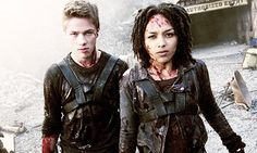"Connor Jessup as Ben and Megan Danso as Deni from the TV Show ""Falling Skies ""."