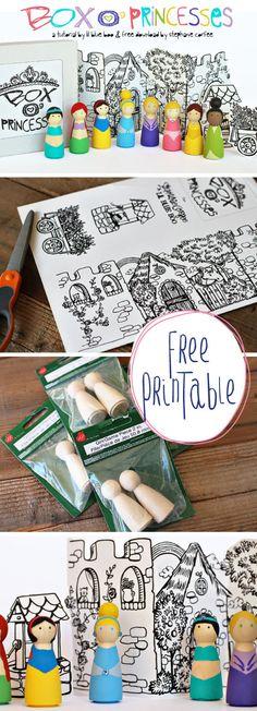 Princesas gratuitas de Box O 'para imprimir y Tutorial