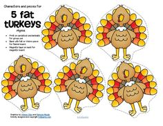 ***FREE***  5 Fat Turkeys counting rhyme - includes characters, background and…