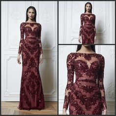 Evening Dress Lace Gorgeous Burgundy Lace Applique Bead Sequins Bateau Long Sleeve Mermaid Zuhair Murad Formal Evening Dresses Celebrity Dress Sexy Prom Gowns Evening Dresses On Sale From Wedding_garden, $191.11| Dhgate.Com