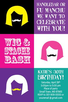 WIG AND STACHE BASH MUSTACHE Printable ADULT Birthday Party Invitation Modern