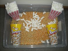 Play Through the Day: Popcorn (Sensory) Tub. No Butter Necessary.