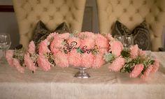 Main table flower arrangement. Balalaika Hotel, Sandton. 19 March 2016. Table Flower Arrangements, Table Flowers, Bridal Table, Floral Design, Tables, March, Pink, Mesas, Floral Patterns