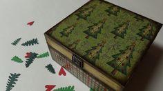Christmas tree pine tree holiday decoupaged jewelry trinket treasure gift keepsake embellished box.