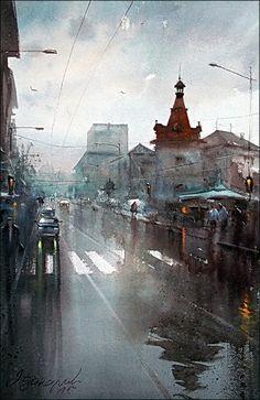 Rainy Day, watercolor, 36x55cm  Dusan Djukaric http://www.dusandjukaric.com/gallery/