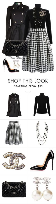 """Houndstooth Honey"" by terra-glam ❤ liked on Polyvore featuring Ted Baker, Victoria, Victoria Beckham, Chicwish, Chanel and Christian Louboutin"