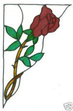 2 faux stained glass red rose corner window clings