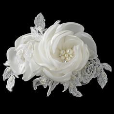 Beautiful Satin Rose and Lace Hair Clip with Pearl and Rhinestone Accents - Affordable Elegance Bridal -