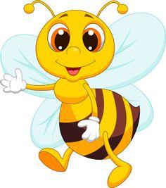 Illustration of Cute bee cartoon waving vector art, clipart and stock vectors.