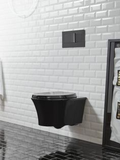 Veil toilet   A wall-mounted toilet keeps the look sleek and expansive, with unbroken sight lines across the floor space.