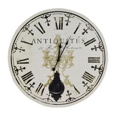 Antique Vintage Black & White Round Wall Clock | Departments | DIY at…