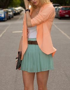 Peach and teal