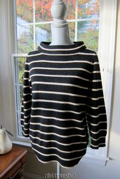305cec41bbc J.Crew J. Crew Collection Cashmere Button Striped Brown Cream LS Sweater L  Large