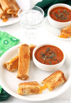 Grilled Cheese Roll Ups With Tomato Soup Dipping Sauce!!