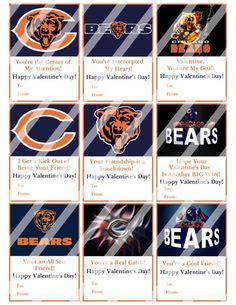 Chicago Bears Printable Digital Personalized Valentines Day Cards #2