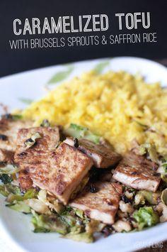 Caramelized Tofu w/ Brussels Spouts & Yellow Saffron Rice #macrobiotic #vegan (sesame oil, garlic, walnuts, brown sugar,  vermicelli or angel hair pasta, veg stock, paprika, turmeric)