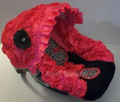 Leopard/Hot Pink 3D Roses/Black Minky Infant by smallsproutsbaby, $89.00