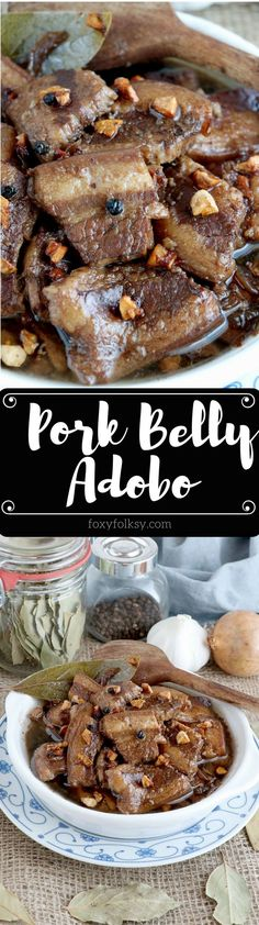 Try this melt in your mouth Pork Adobo Recipe using pork belly.   www.foxyfolksy.com