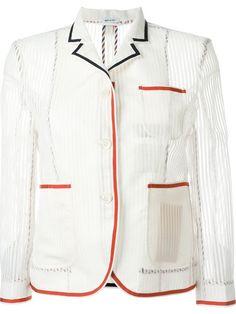THOM BROWNE Contrast Trim Blazer. #thombrowne #cloth #blazer