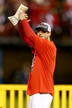 David Freese celebrates after the Cardinals defeat the Los Angeles Dodgers 9-0 in Game Six of the NLCS. 10-18-13