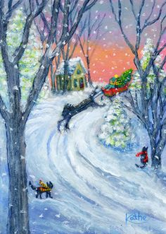 'Here Comes the Tree!' by Kathe Soave snow Christmas horse sleigh cat art