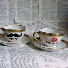 Pickard Mr and Mrs Altered Vintage Teacup and by geekdetails, $50.00