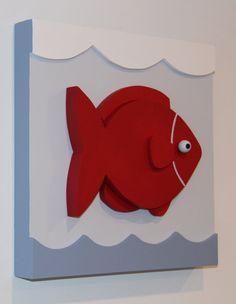 Fish Nautical Kids Room Decor and Nursery Wood Wall by EleosStudio