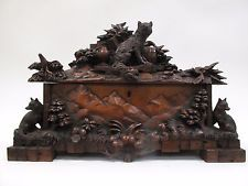 RARE ANTIQUE FINE CARVED - Black Forest Jewelry Box, 19th Century, Fox