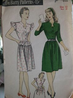 Vintage 1945 DuBarry Dress with Detachable by LadyJanetvintage, $12.00