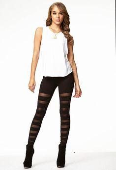Mesh Stripe Leggings   FOREVER21 - 2057819458 $15.80