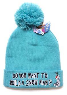 dde400a3f87 Disney Frozen DO YOU WANT TO BUILD A SNOWMAN POM BEANIE Olaf Knit Ski Cap  Women