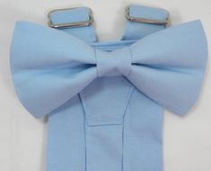 Sky Blue Suspenders and Sky Blue Bow Tie. Bridal Color Sky Blue. Sizes Infant-Adult. Free Fabric Sample Available.