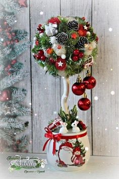 Last year: This year: I have decided to replace the wreath on my front door since & Christmas Topiary, Simple Christmas, Handmade Christmas, Christmas Wreaths, Christmas Ornaments, Christmas Flower Arrangements, Christmas Centerpieces, Xmas Decorations, Christmas Projects