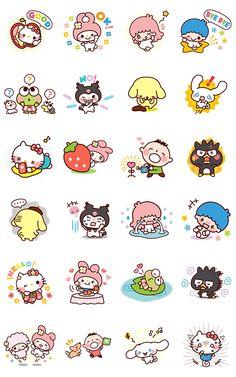 Cuties of Sanrio Kawaii Stickers, Diy Stickers, Printable Stickers, Printable Labels, Free Printables, Sanrio Wallpaper, Hello Kitty Wallpaper, Hello Kitty Backgrounds, Kawaii Doodles